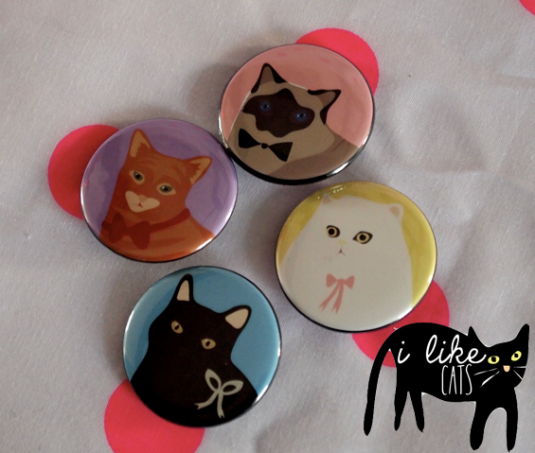 i like cats brooch