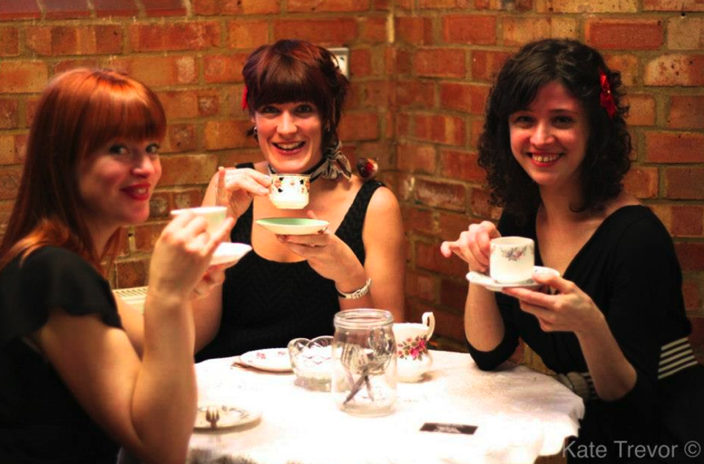 'The Close Shaves' vintage singers enjoying tea!