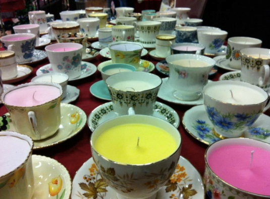 The chintzy Teacup- teacup candles