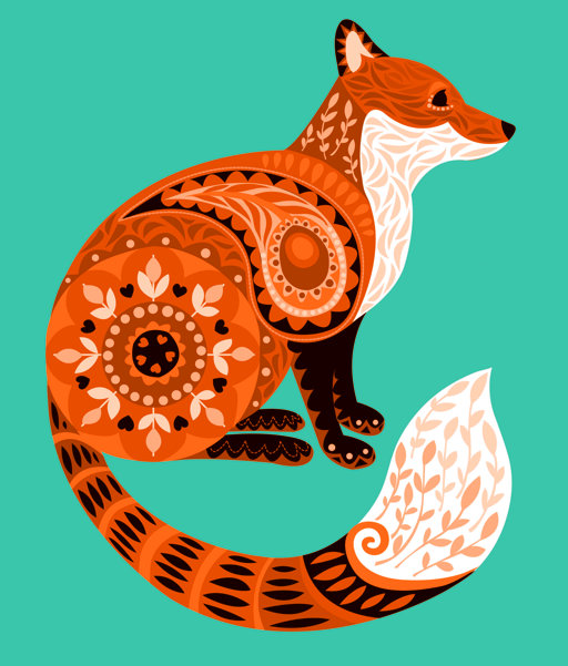 fox illustration print