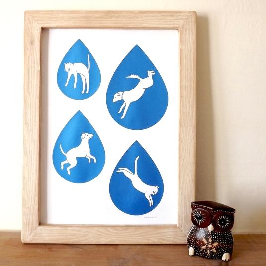 Raining cats and dogs screenprint donated from Hello DODO
