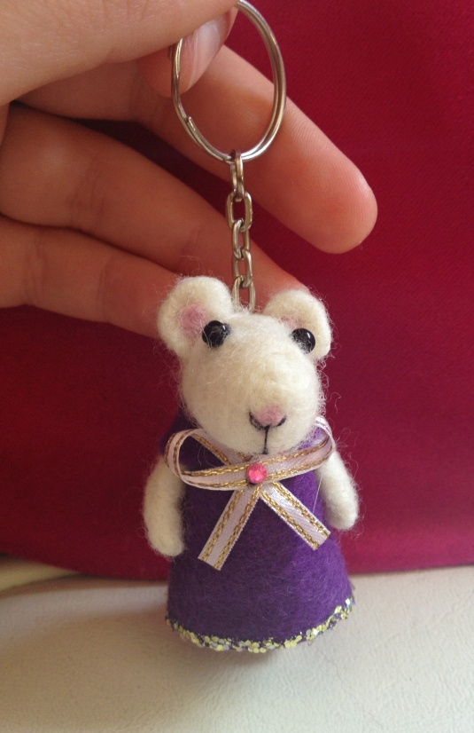 Needle felted keyring donated by Lottie Leo