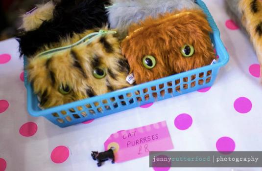 Handmade fluffy cat purse donated by I Like CATS