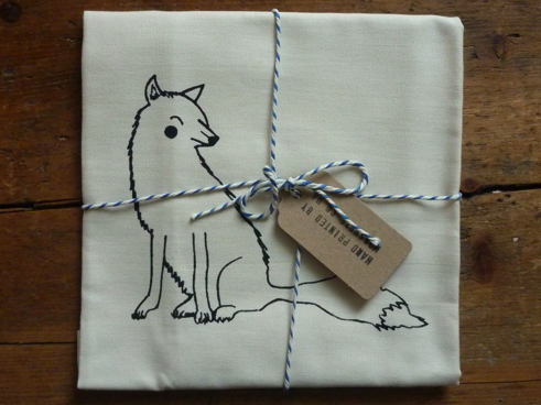 Hand Printed fox tea towel donated by Mooshpie.