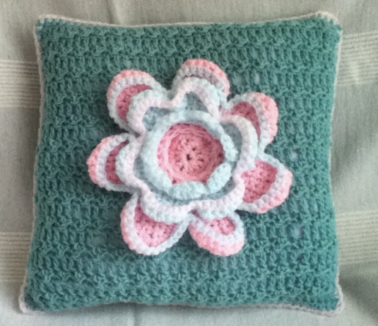 Crochet cushion donated by Me and Mrs Jones
